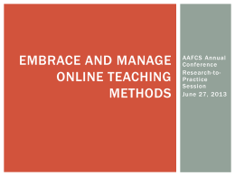 Best Practices for Teaching FCS Online