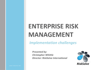ENTERPRISE RISK MANAGEMENT, Implementation challenges