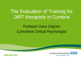 Cumbria Partnership - The Evaluation of Training for