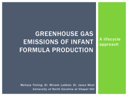 Greenhouse Gas Emissions of Infant Formula Production