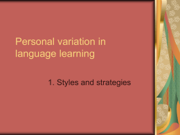 Personal Variation in Language Learning 1