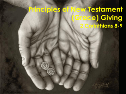 Principles of New Testament (Grace) Giving