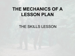 THE MECHANICS OF A LESSON PLAN