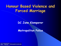 Honour Based Violence presentation