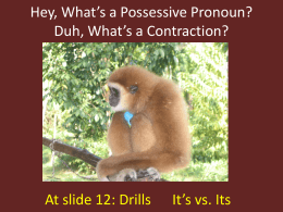 Hey, What`s a Possessive Pronoun? Duh, What`s a Contraction?
