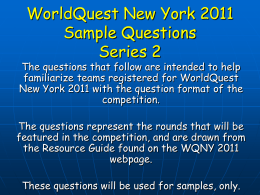 WorldQuest New York 2011 Sample Questions Series 2