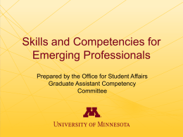 Graduate Assistant Competencies Committee Presentation