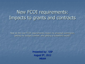 FCOI requirements OSP