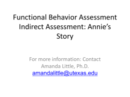 Functional Behavior Assessment Activity: Annie`s Story