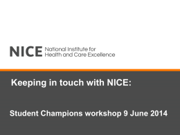 Keeping in touch with NICE: Student Champions workshop 9 June