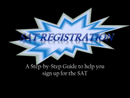 SAT Registration - Vanguard High School