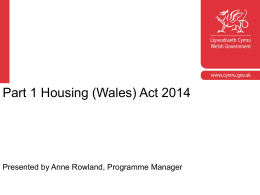 Part 1 Housing (Wales) Act 2014