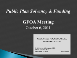 Funding & Solvency of LA`s Public Pension Plans