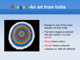 Rangoli -An art from India