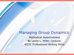 Managing Group Dynamics
