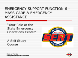 emergency suppoprt funtion 6 - mass care