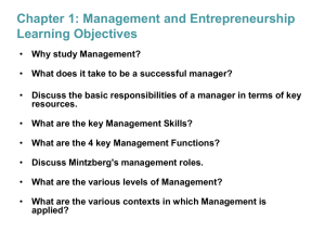 Managers and Management Principles