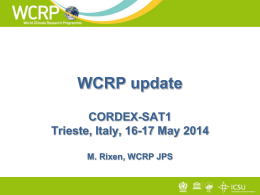 WCRP Update, CORDEX project office