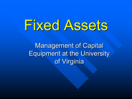 Fixed Assets - University of Virginia