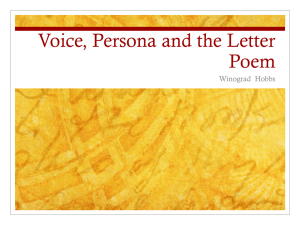 Voice, Persona and the Letter Poem