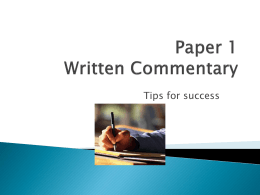 Paper 1 Written Commentary - IB English Literature 2012-2013