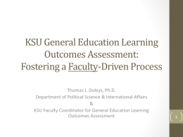 KSU General Education Learning Outcomes Assessment: Faculty