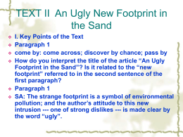Unit 2 Text II An Ugly New Footprint in the Sand