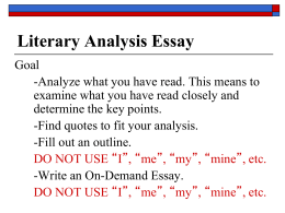 Sample Literary Analysis Essays