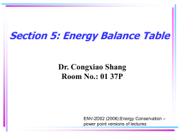 Energy Balance Table