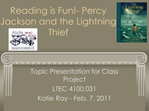 Reading is Fun!- Percy Jackson and the Lightning Thief