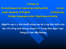Hai phong Public University English Department A study on