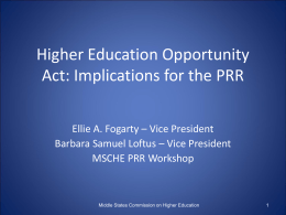 The Higher Education Opportunity Act: Implications for the PRR