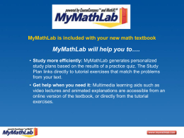 Getting Started With MyMathLab (Power Point
