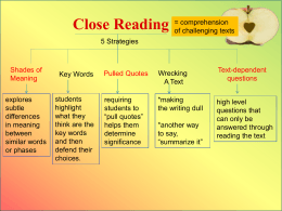 Close Reading - Cattaraugus-Little Valley Central School