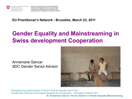 Gender Equality and Mainstreaming in Swiss development