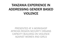 tanzania experience in addressing gender based violence