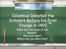 Columbus Debated the Scholars Before his First Voyage in 1492