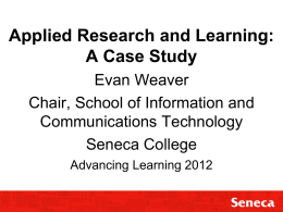 Applied Research and Learning: A Case Study