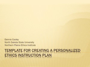 template for creating a personalized Ethics instruction plan