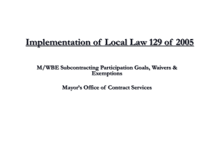 Implementation of Local Law 129 of 2005
