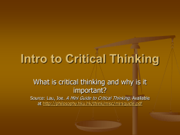 About Critical Thinking