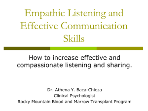Empathic Listening and Communication Skills