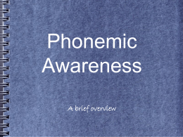 Phonological or Phonemic Awareness
