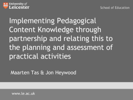 Implementing Pedagogical Content Knowledge through partnership