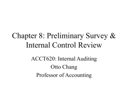 Chapter 8: Preliminary Survey & Internal Control Review