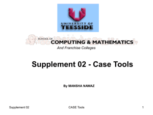 Computer Aided Software Engineering Tools and Techniques (CASE)