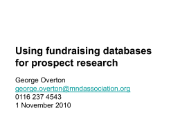 Using fundraising databases for prospect research
