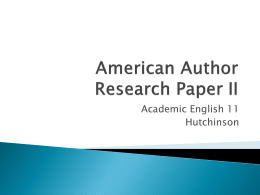 American Author Research Paper III