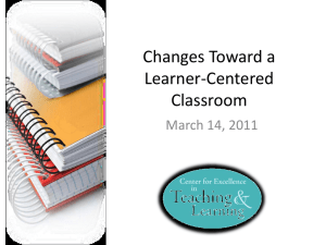 Changes Toward a Learner
