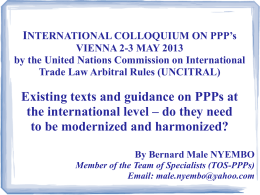INTERNATIONAL COLLOQUIUM ON PPP`s VIENNA 2-3